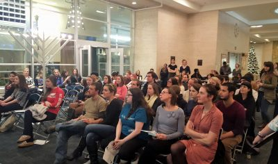 The Soiree de poesie attracted quite the crowd for the week before finals.