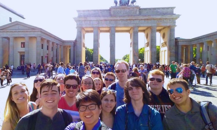 UConn's Eurotech class at the Brandenburg Gate in Berlin, Germany